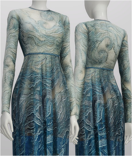 Glitter blue wave gown at Rusty Nail image 1441 Sims 4 Updates