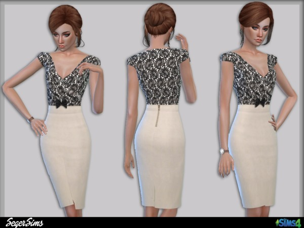 Sims 4 Office Pencil Dress by SegerSims at TSR