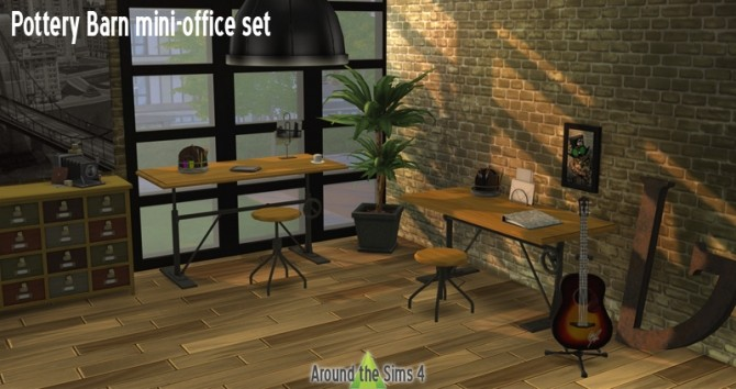 Pottery Barn Office by Sandy at Around the Sims 4 image 1592 670x354 Sims 4 Updates