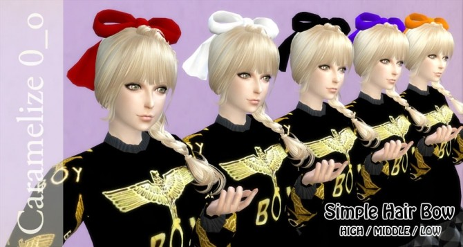 Sims 4 Simple Hair Bow at Caramelize