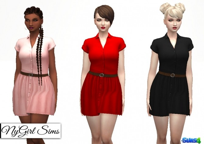 Sims 4 Collared Button Down Dress with Belt at NyGirl Sims