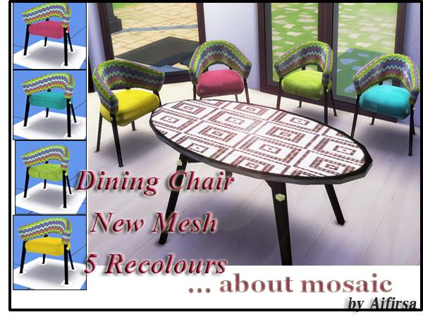 Sims 4 About Mosaic dining сhair by Aifirsa at Lady Venera