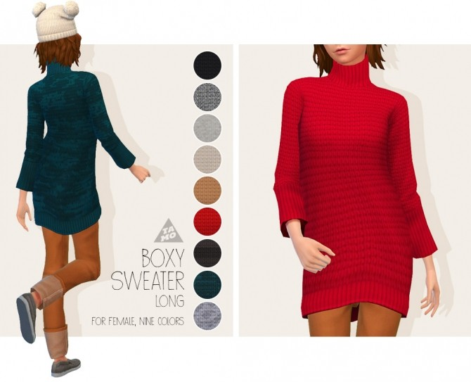 Boxy Sweater (Long) for AF at Tamo image 181 670x543 Sims 4 Updates