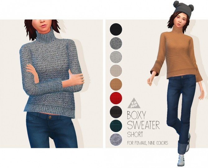Boxy Sweater (Short) for AF at Tamo image 182 670x543 Sims 4 Updates