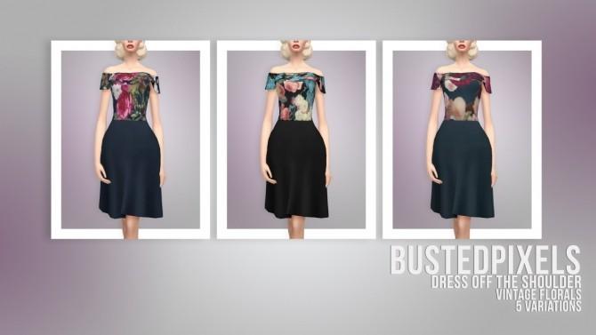Dress Off The Shoulder Vintage Florals at Busted Pixels image 1911 670x377 Sims 4 Updates