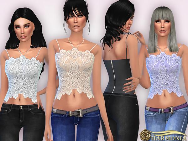 Sims 4 Lace Halterneck Cami Halter Top by Harmonia at TSR
