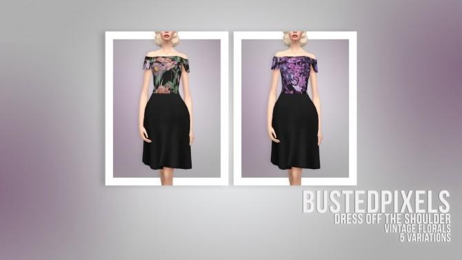 Dress Off The Shoulder Vintage Florals at Busted Pixels image 1921 670x377 Sims 4 Updates
