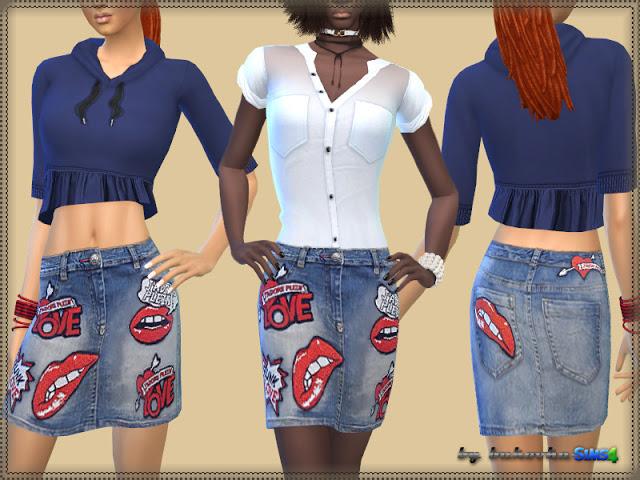 Sims 4 Denim Skirt Love at Bukovka