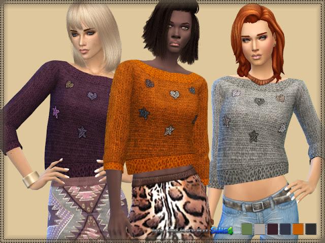 Sims 4 Sweater Stars & Heart at Bukovka