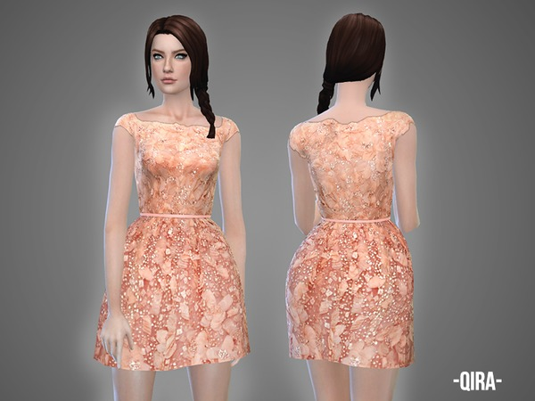 Sims 4 Qira belted embroidered dress by April at TSR