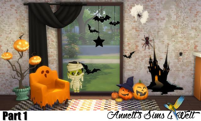 Sims 4 Halloween Wall Deco Part 1 + 2 at Annett's Sims 4 Welt
