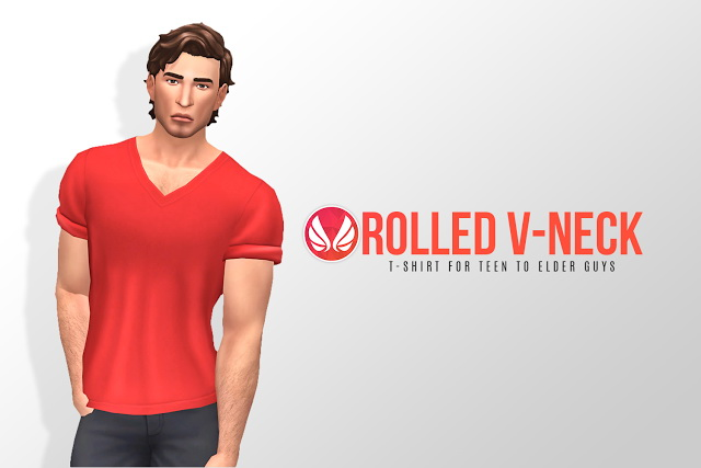 Rolled V neck Tee at Simsational Designs image 208 Sims 4 Updates