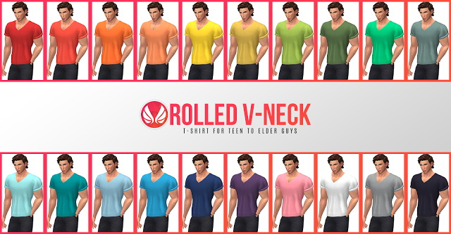 Rolled V neck Tee at Simsational Designs image 209 Sims 4 Updates