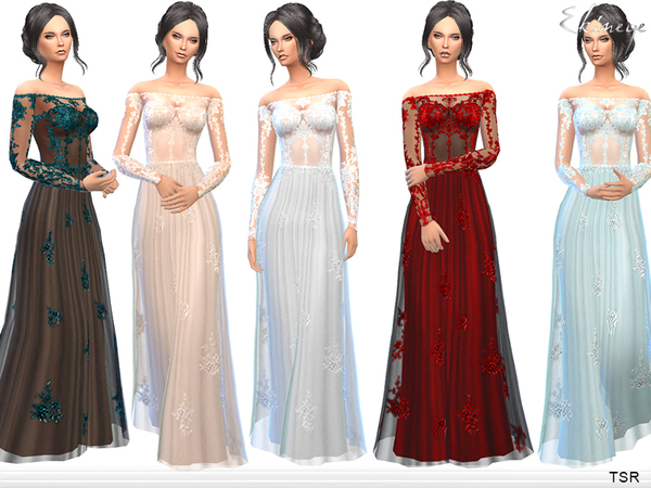 Transparent Gown With Lace Applique by ekinege at TSR u00bb Sims 4 Updates