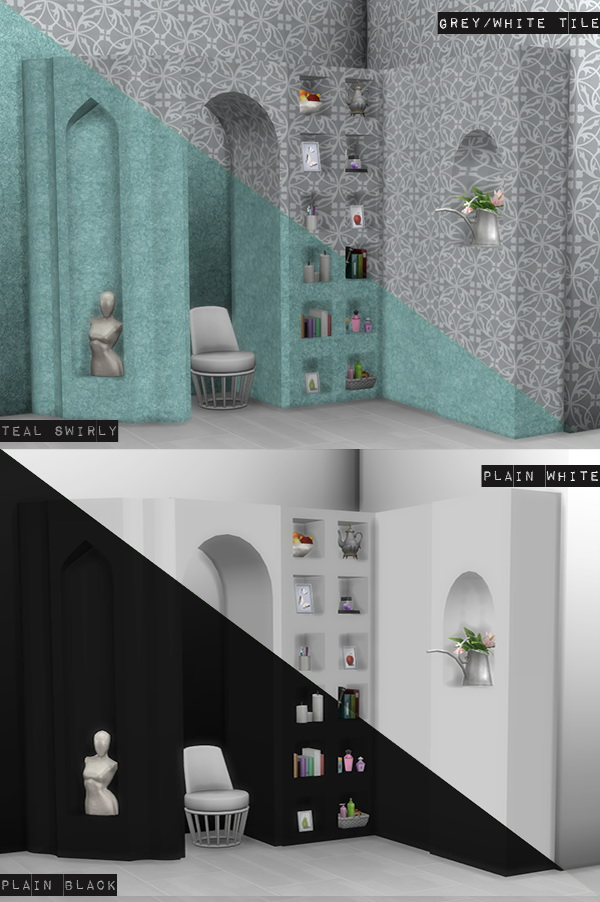 Sims 4 Niche recolors and walls at Loverat Sims4
