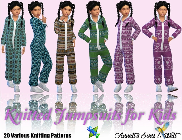 Sims 4 Knitted Jumpsuits for Kids at Annett's Sims 4 Welt