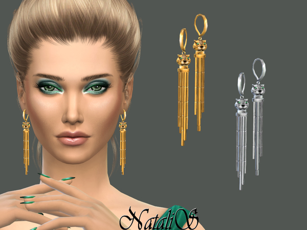 Sims 4 Panthere drop earrings by NataliS at TSR