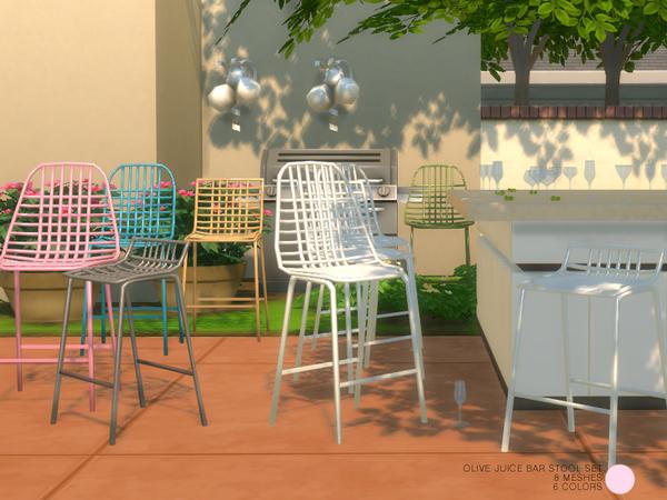 Sims 4 Olive Juice Bar Stool Set by DOT at TSR