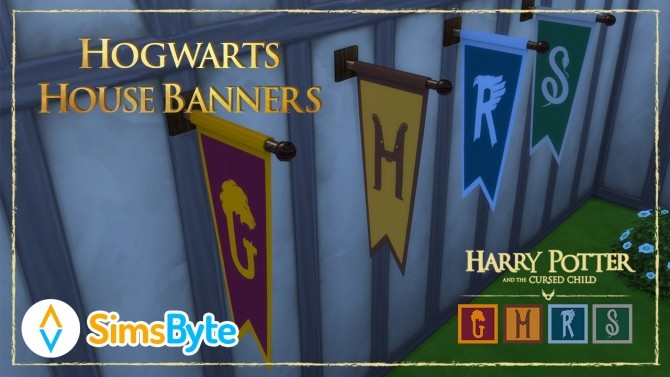 Sims 4 Hogwarts House Banners at Sims Byte