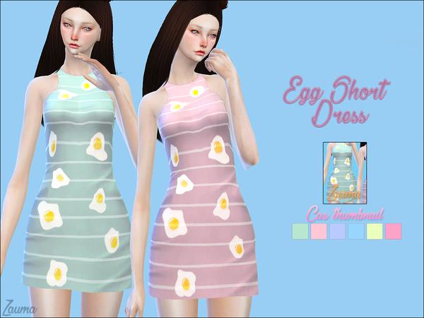 Sims 4 Yume Egg short dress by Zauma at TSR