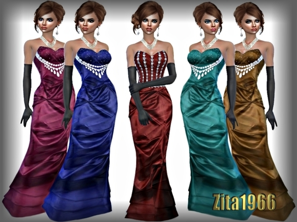 Sims 4 ZITA EVENING GOWNS by ZitaRossouw at TSR