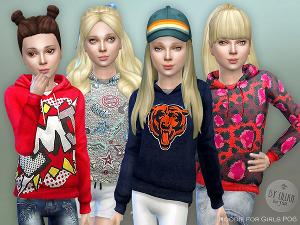Sims 4 Hoodie for Girls P06 by lillka at TSR