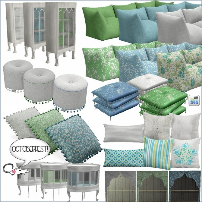Sims 4 Blue and green set at Loverat Sims4