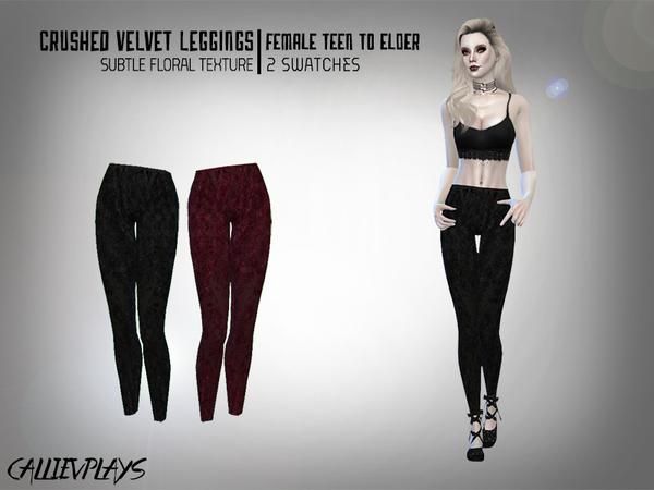 Sims 4 Crushed Velvet Leggings by Callie V at TSR