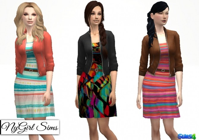 Sims 4 Belted Dress with Bomber Jacket at NyGirl Sims