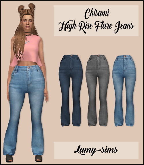 Sims 4 Chisami High Rise Flare Jeans at Lumy Sims