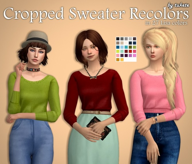 Sims 4 Cropped Sweater Recolors at Tukete