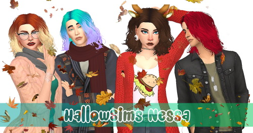 Hallowsims Nessa hair recolors at Amarathinee image 289 Sims 4 Updates