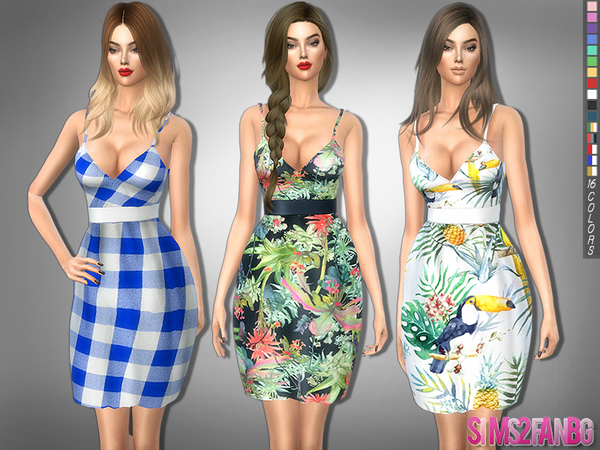 Sims 4 239 V neck dress with belt by sims2fanbg at TSR