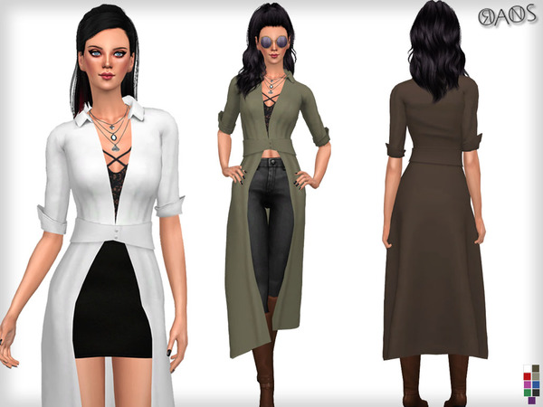 Shirley Plunge Neck Split Maxi Shirt by OranosTR at TSR image 313 Sims 4 Updates