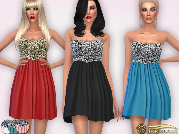 Sims 4 Diamond Embellished Skater Dress by Harmonia at TSR