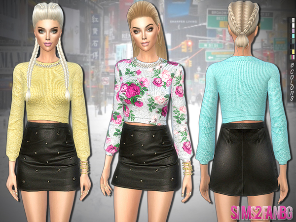 Sims 4 235 Embellished sweater with leather skirt by sims2fanbg at TSR