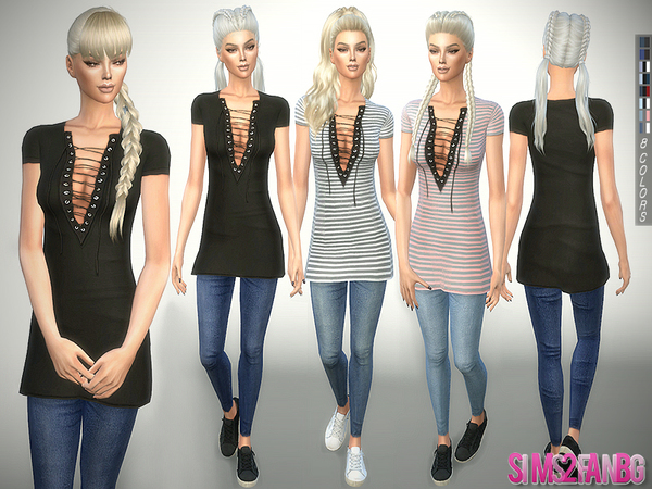 Sims 4 241 Tunic with Jeans by sims2fanbg at TSR
