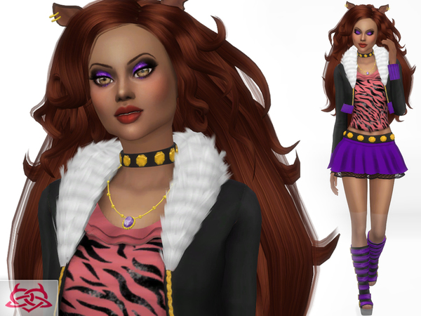 Sims 4 Monster High Clawdeen hair, boots, necklace, ears, ring & outfit by Colores Urbanos at TSR