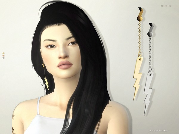Sims 4 Lightning Earrings by serenity cc at TSR