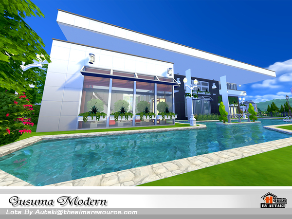 Sims 4 Gusuma Modern house by autaki at TSR