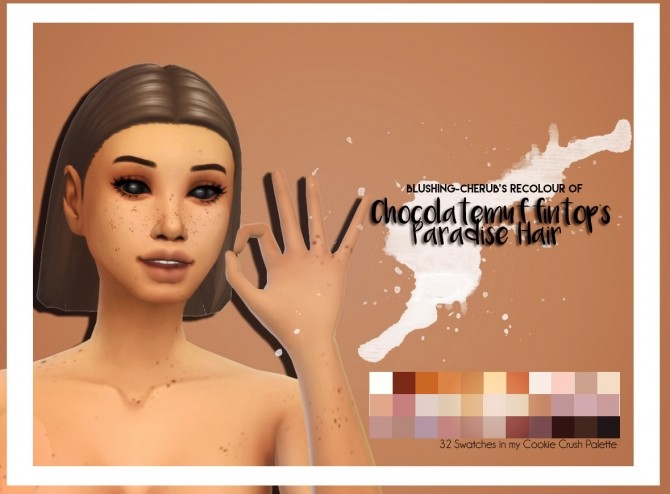 Sims 4 Recolour of Chocolatemuffintops Paradise Hair by Blushing Cherub at SimsWorkshop