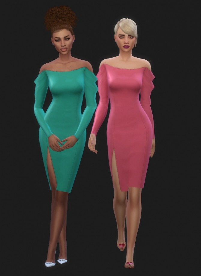 Sims 4 Drusilla Dress Recolors in wms​ unnaturals at Maimouth Sims4