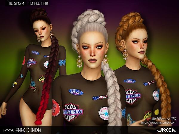 Sims 4 H008 ANACONDA Female Hair by JAKEASims at TSR