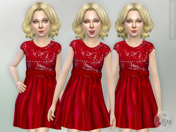 Sims 4 Red Party Dress by lillka at TSR