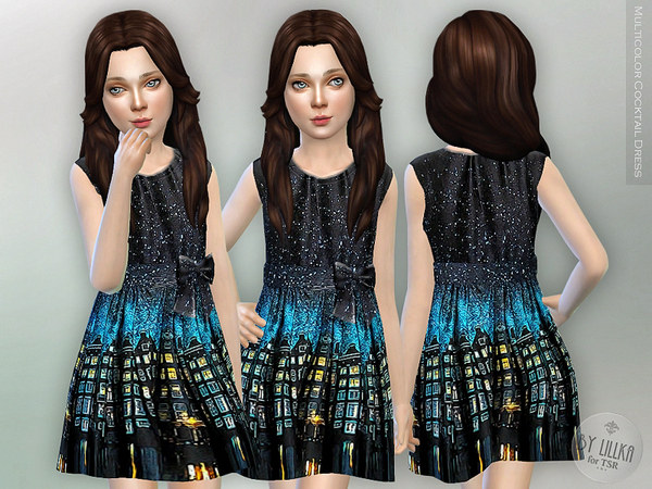 Sims 4 Multicolor Cocktail Dress by lillka at TSR