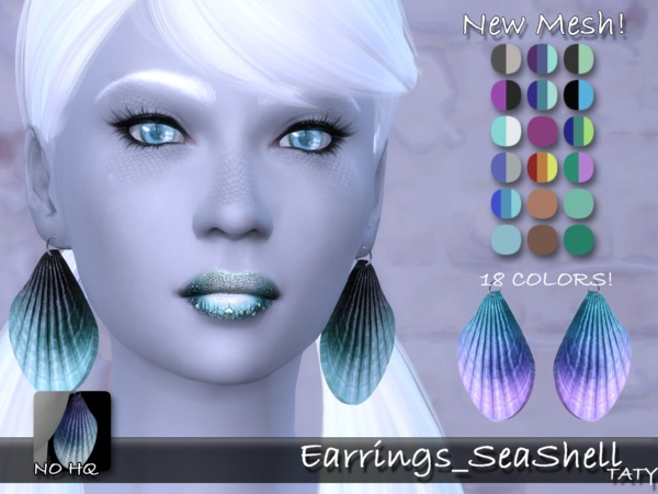 Sims 4 SeaShell Earrings by Taty at TSR