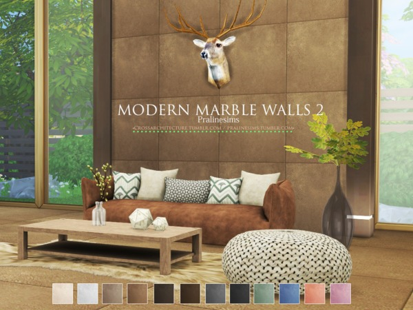 Sims 4 Modern Marble Walls 2 by Pralinesims at TSR
