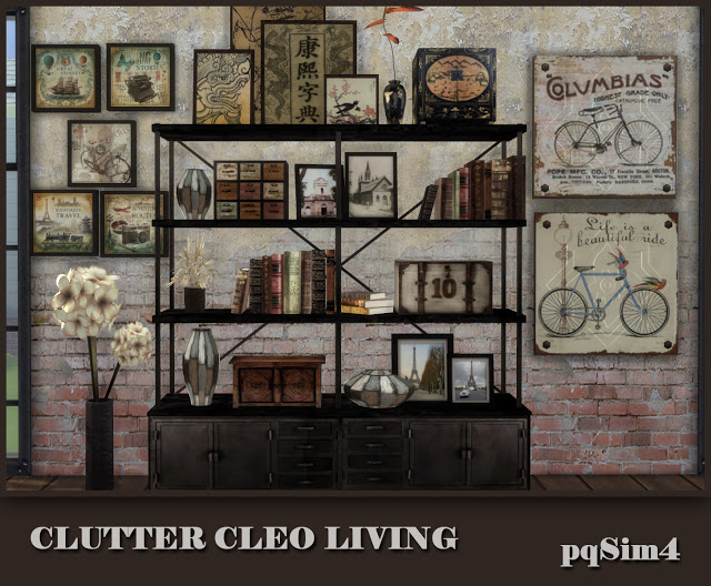 Sims 4 Clutter Cleo Living Industrial Style at pqSims4