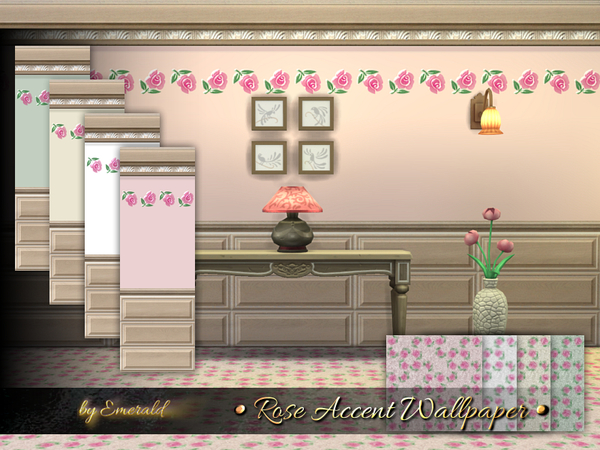 Rose Accent Wallpaper by emerald at TSR image 6 Sims 4 Updates