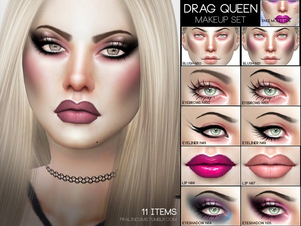 Sims 4 Drag Queen Makeup Set by Pralinesims at TSR